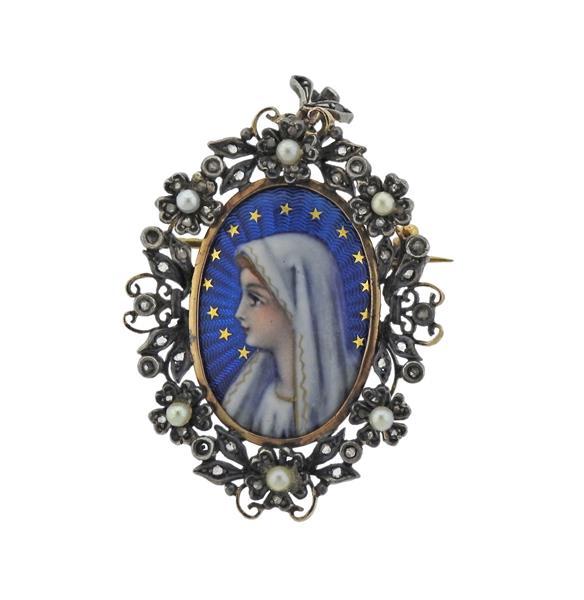 Antique 18K Gold Silver Diamond Pearl Enamel Brooch Pendant
