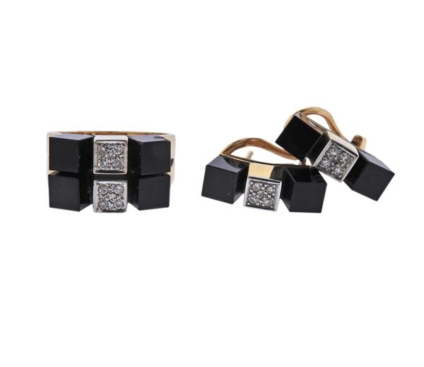 18K Gold Diamond Onyx Earrings Ring Set