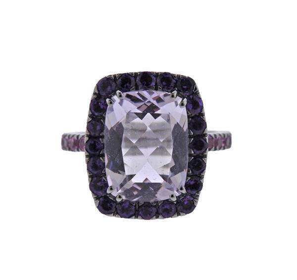 A & Furst Dynamite 18K Gold Purple Pink Gemstone Ring