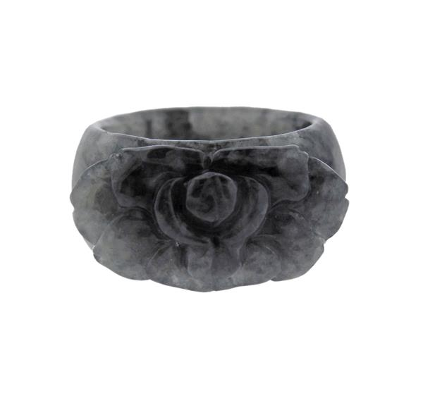 Carved Grey Stone Flower Ring