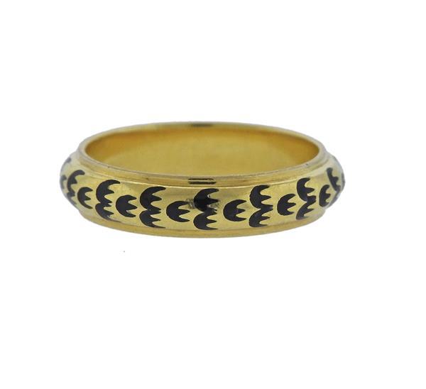 18K Gold Enamel Band Ring