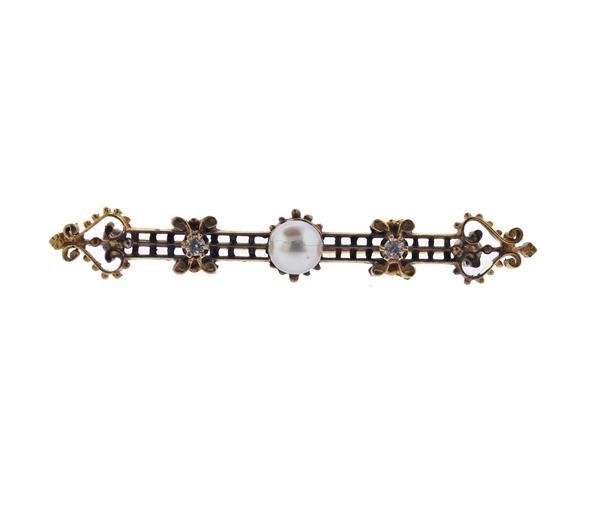 Antique 14K Gold Diamond Pearl Brooch