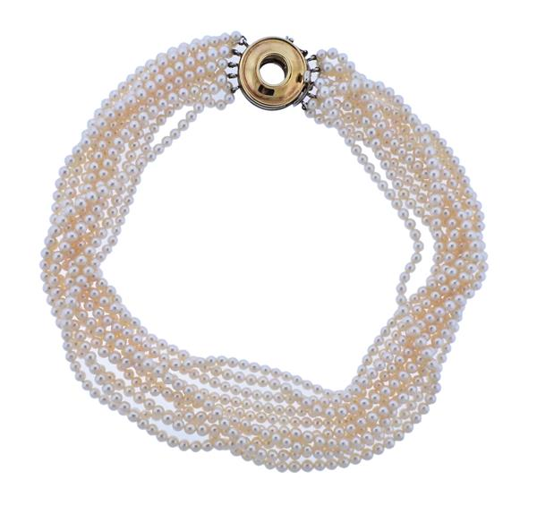 Tiffany & Co Paloma Picasso Gold Silver Clasp Pearl Necklace