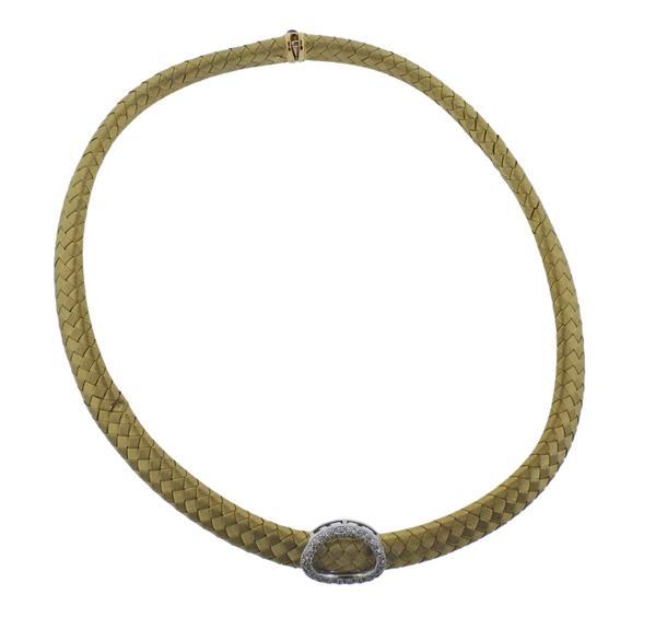 18K Gold Diamond Woven Necklace