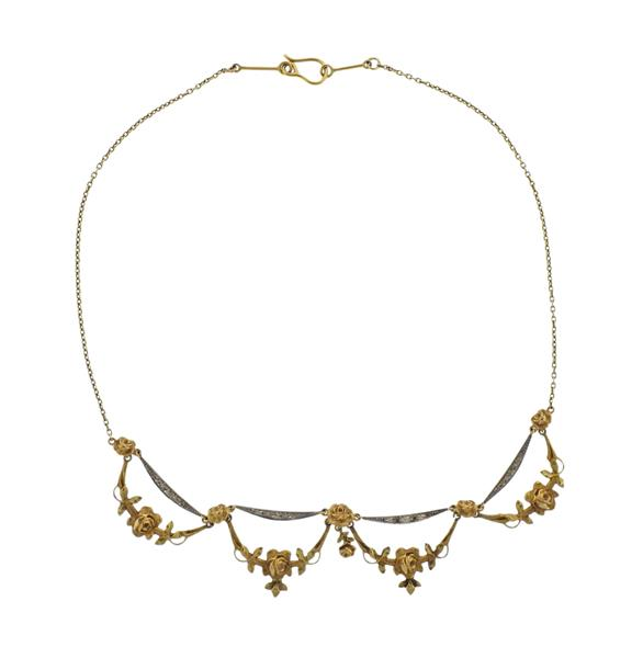 Antique 18K Gold Flower Motif Necklace
