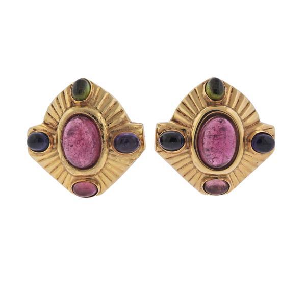 14k Gold Multi Gemstone Earrings