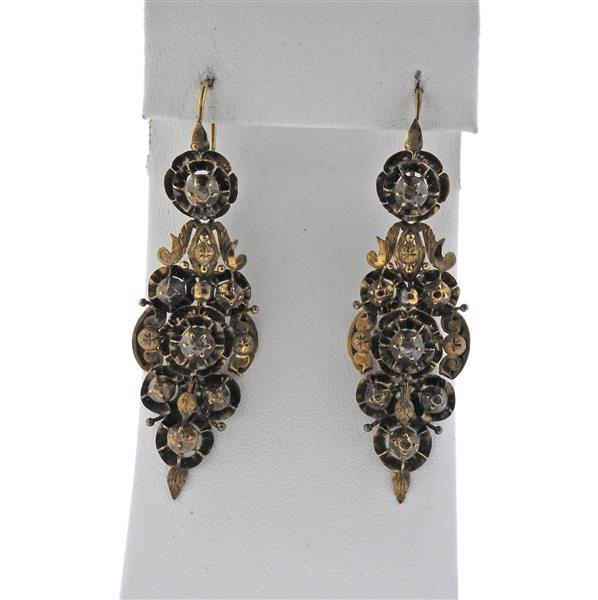 Iberian 18K Gold Diamond Drop Earrings