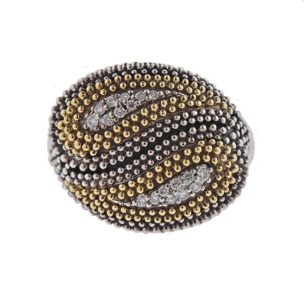 Lagos Silver 18K Gold Diamond Ring