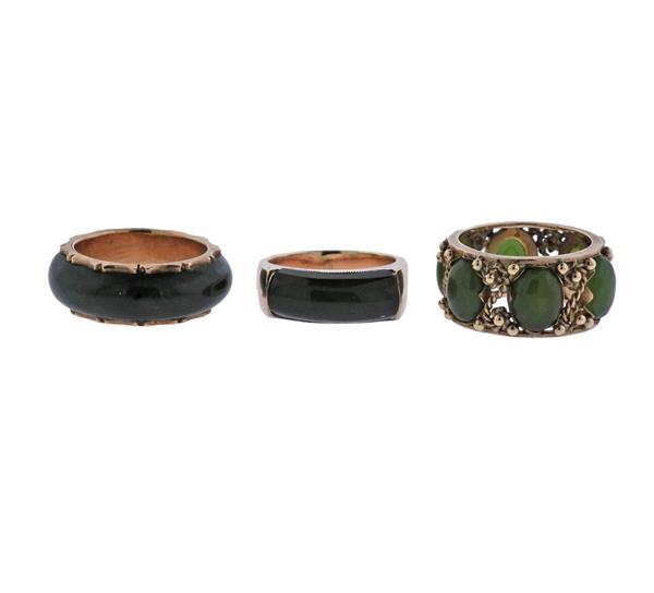 14K Gold Jade Ring Lot of 3