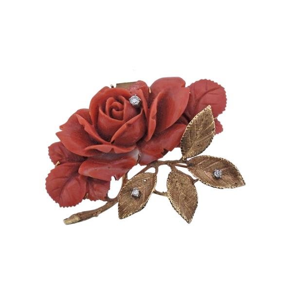 14K Gold Diamond Carved Coral Flower Brooch