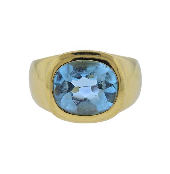 18K Gold Blue Gemstone Ring