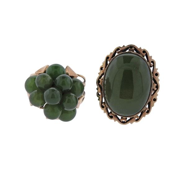 14K Gold Nephrite Ring Lot of 2