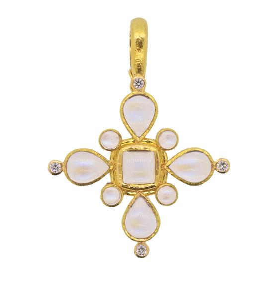 Elizabeth Locke 19K Gold Diamond Moonstone Pendant