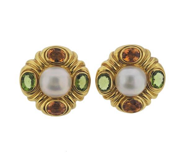 18K Gold Pearl Multi Gemstone Earrings