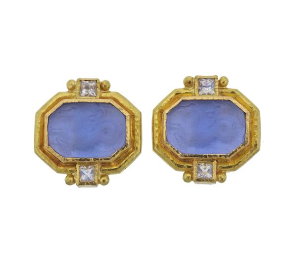 Elizabeth Locke 19K Gold Intaglio Labradorite Earrings