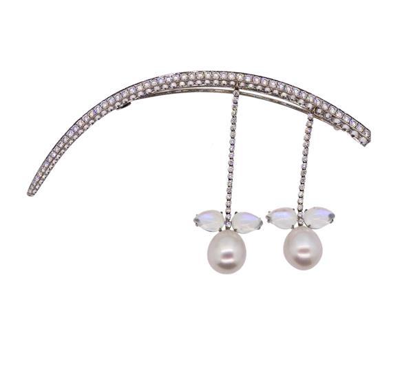 Prince Dmitri 18K Gold Diamond Pearl Hair Ornament Brooch