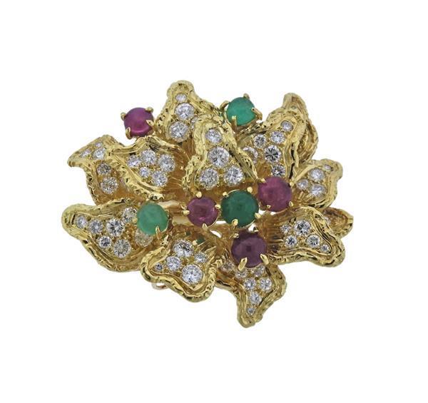 18K Gold Diamond Ruby Emerald Brooch Pendant
