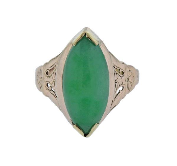 14K Gold Green Gemstone Ring