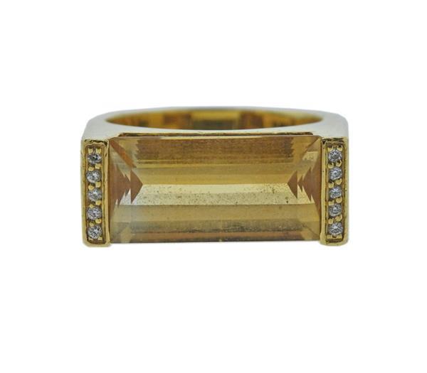 18K Gold Diamond Yellow Gemstone Ring