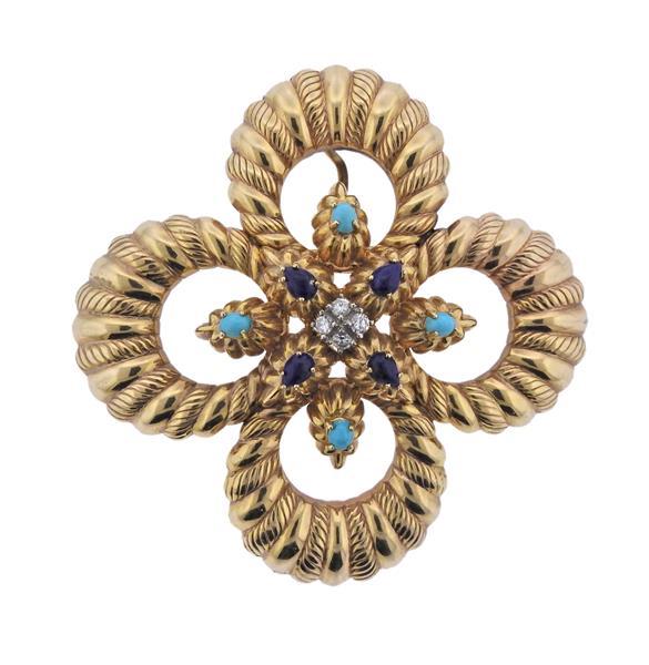 Large 14K Gold Diamond Gemstone Brooch Pendant