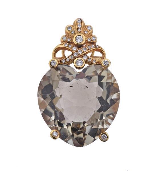 Large 18K Gold Diamond Topaz Heart Pendant