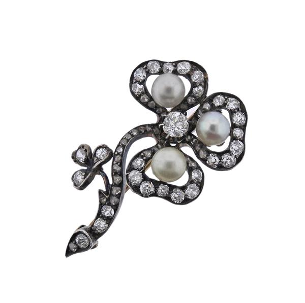 Antique 14K Gold Silver Diamond Pearl Brooch Pin