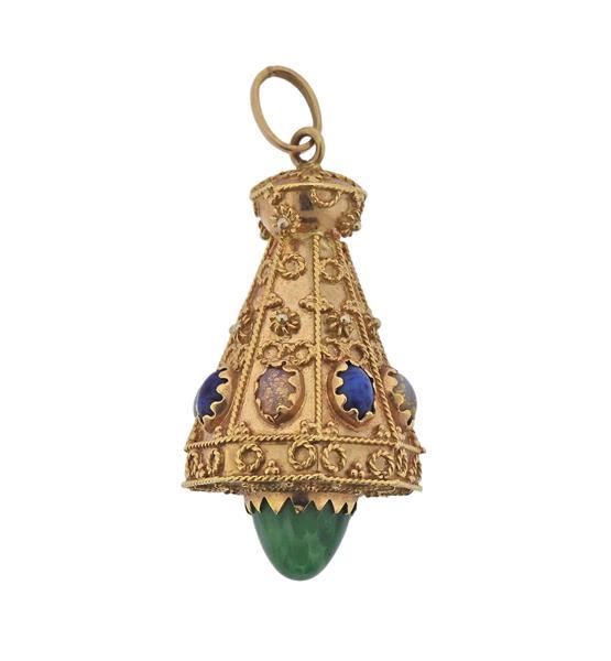 18K Gold Multi Gemstone Etruscan Pendant