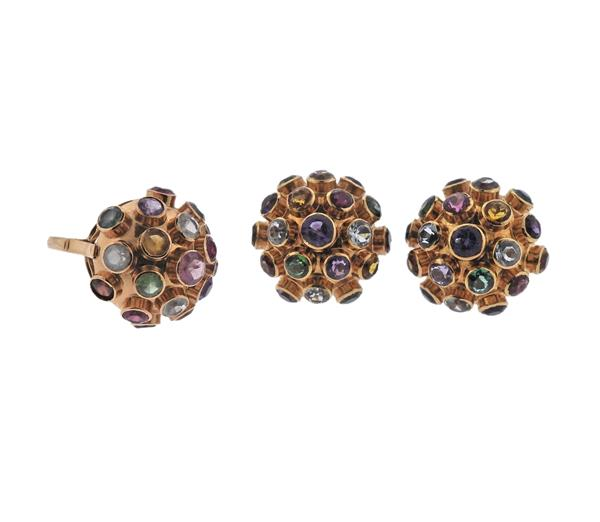 18K Gold Multi Gemstone Sputnik Earrings Ring Set