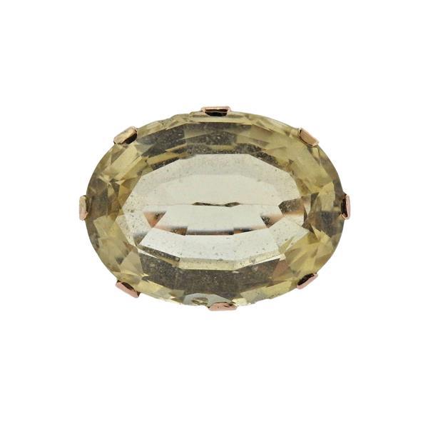 Retro 18K Gold Yellow Quartz Ring