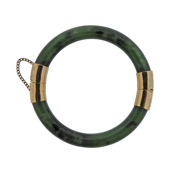 10K Gold Jade Bangle Bracelet
