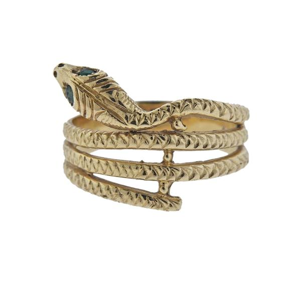 14K Gold Green Stone Snake Ring