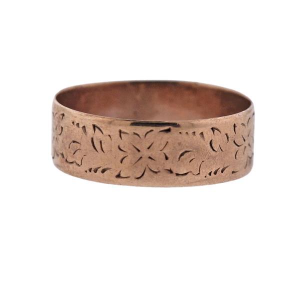 Antique 14K Gold Floral Band Ring