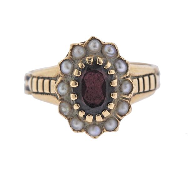 Antique 14K Gold Pearl Red Stone Ring