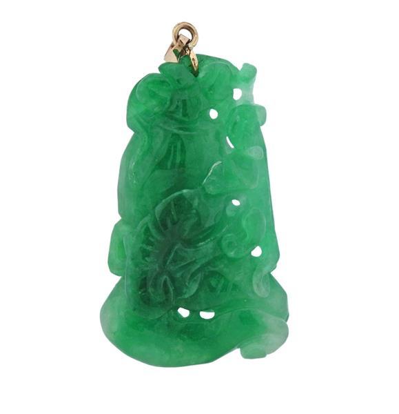 10K Gold Carved Jade Pendant
