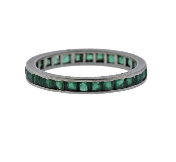 Platinum Green Stone Eternity Wedding Band Ring