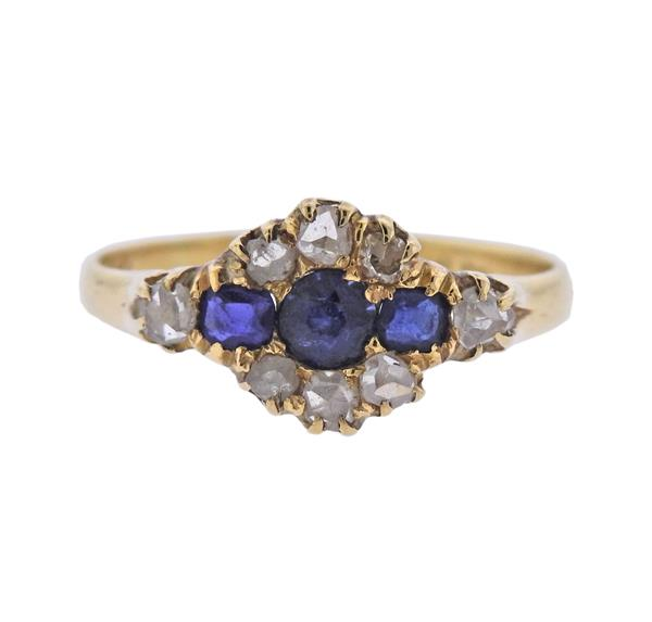 Antique 18K Gold Diamond Blue Gemstone Ring