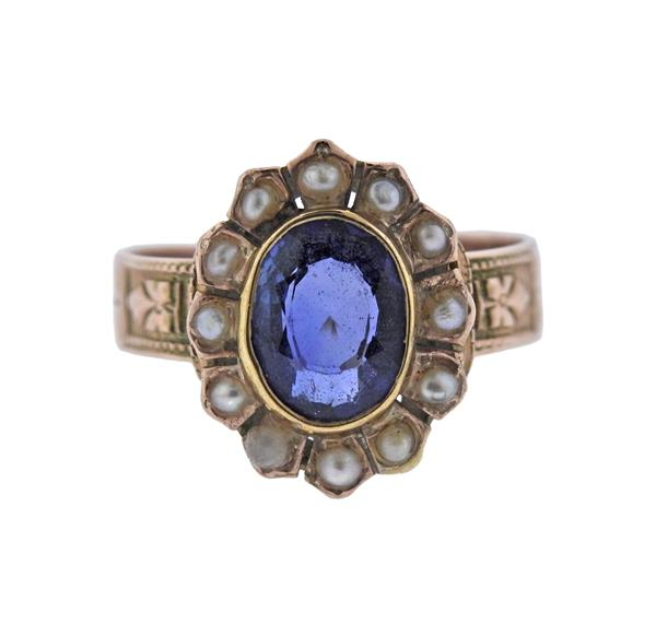 Antique 14K Gold Pearl Blue Gemstone Ring