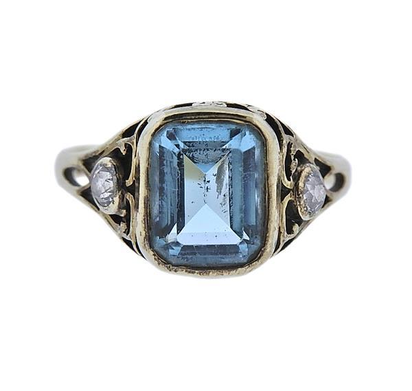 Antique 14K Gold Diamond Blue Stone