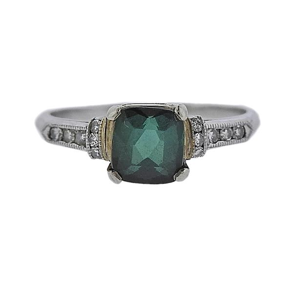 Platinum Green Stone Diamond Ring