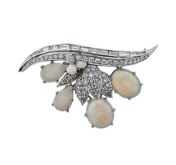 14k Gold Opal Diamond Brooch Pin