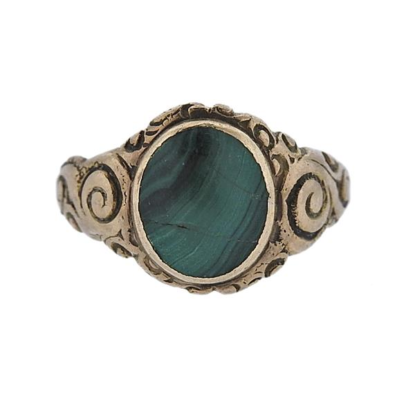 Antique 14k Gold Malachite Ring