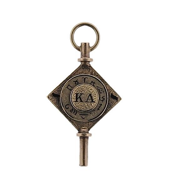 Antique 14K Gold Enamel Zodiac Pocket Watch Key