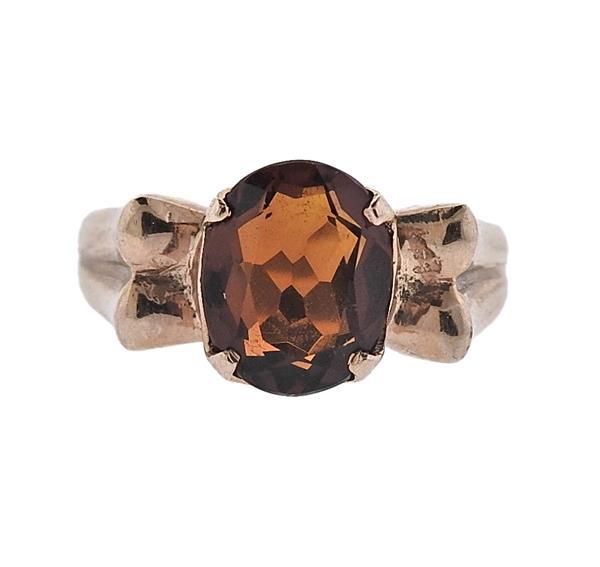 Vintage 14k Gold Orange Stone Ring