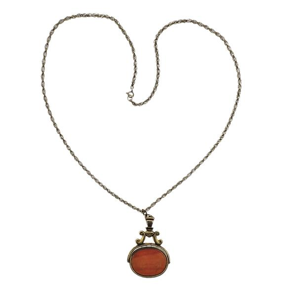 Gold Filled Intaglio Fob Pendant Necklace