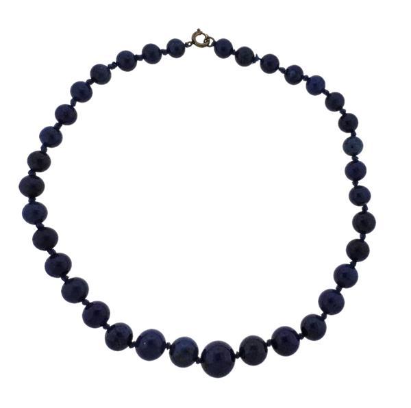 Lapis Graduated Bead Necklace