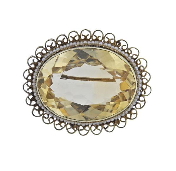 14K Gold Citrine Pearl Oval Brooch