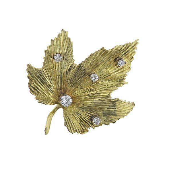 18K Gold Diamond Maple Leaf Brooch