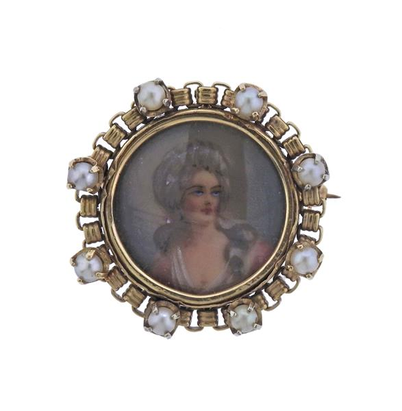Antique 14K Gold Pearl Miniature Painting Brooch Pendant