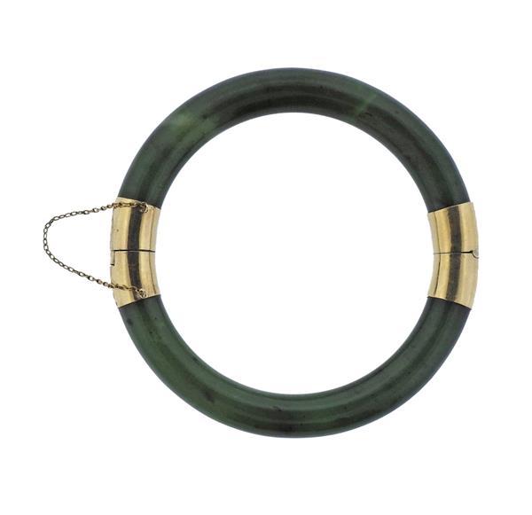 14K Gold Nephrite Jade Band Ring