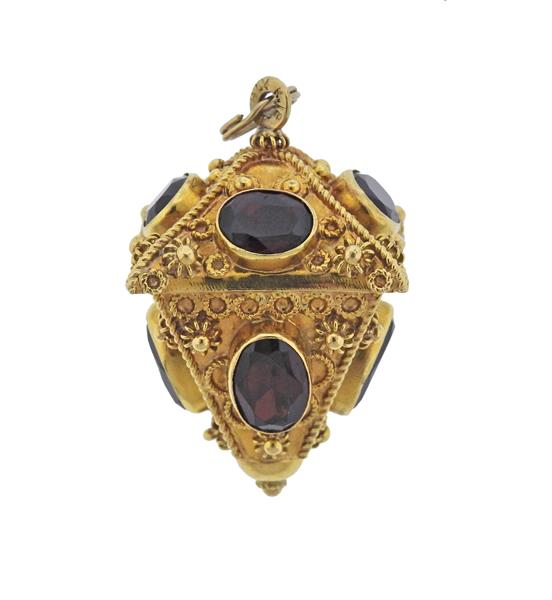 Etruscan 18K Gold Red Gemstone Charm Pendant